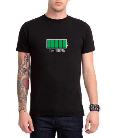 Battery Full - I'm 100% Erkek (Unisex) T-Shirt