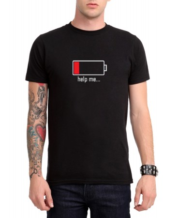 Battery Off - Help Me Erkek (Unisex) T-Shirt